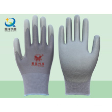 Grey Polyester Liner with Grey PU Coated Safety Gloves