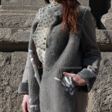 Hooded Merino Winter Shearling Coat For Young Lady
