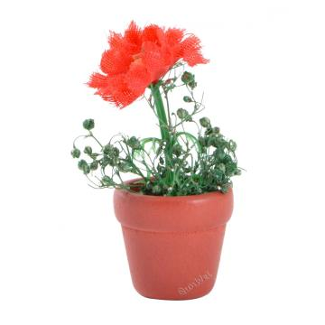Dolls House Miniature Resin Garden FlowerPot with Flower
