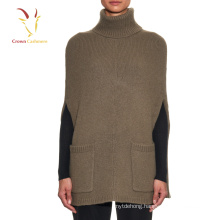 Free knitted cashmere turtleneck poncho hot selling