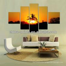 5 painéis de divisão Pintura Artes de imagens de floresta do pôr do sol