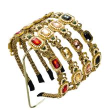Bandeau Opaska Baroque Gorgeous Pearl Diamond Headband Luxury Hair Accessories Retro Korean Fashion Crown Alloy Hairband Accesso