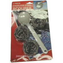 JML 410 Stainless steel scourer for kitchen cleaning with plastic handle