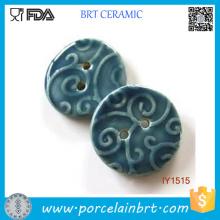 Botões de costura de mão cerâmica azul profundo decorativo
