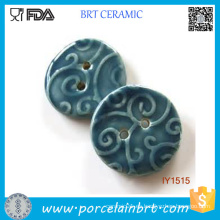 Botones de costura decorativos de cerámica azul profundo
