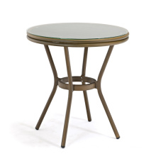DECOR hot selling Alu. frame in bamboo looking surface textiline outdoor glass side table