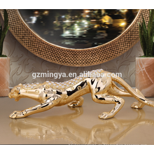 Home Dekoration Luxus Leopard Harz Handwerk mit Shinning Diamant Leoparden Harz Statue