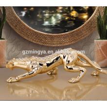 Decoração de casa artesanato de resina de leopardo de luxo com estátua brilhante de resina de leopardo de diamante