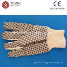 Gants de coton à foret en coton avec des points en PVC, gants en toile avec poignet rouge