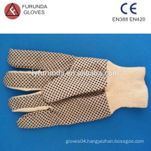 Cotton Drill Hand Gloves with PVC Dots, Canvas Gloves with Red Wrist