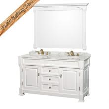 Gabinete de banheiro com piso de estilo antigo com espelho