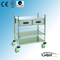 2 Drawers Stainless Steel Hospital Medical Instrument Trolley (Q-2)