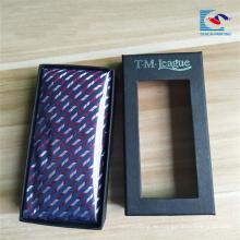 2018 Custom exquisite design Claro PVC Ventana Papel Empaquetado Tie Boxes