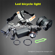 Factory sale Cree xml t6 800-1200Lumen LED Bicycle front flashlight