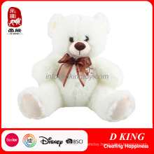 Stuffed White Teddy Bear with Bowknot Soft Bear Children Toy