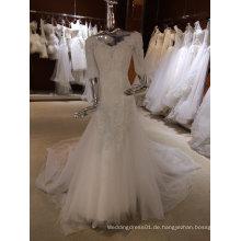 Vintage Long Sleeve Brautkleid mit V-Ausschnitt