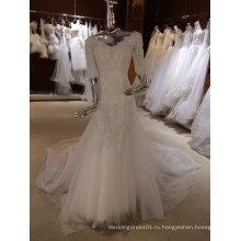 Старинные длинным рукавом свадебное платье с V-образным вырезом