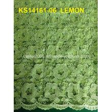 Hot Sale Nouvel échantillon Fujian Factory Rose Swiss Voile Dentelle Thaïlande Cord Cordet Tissu