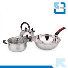 Juego de utensilios de cocina de acero inoxidable de alta calidad con hervidor y pote de existencias y sartenes