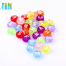 Jewelry fashion clear colored resin oblate acrylic beads letter