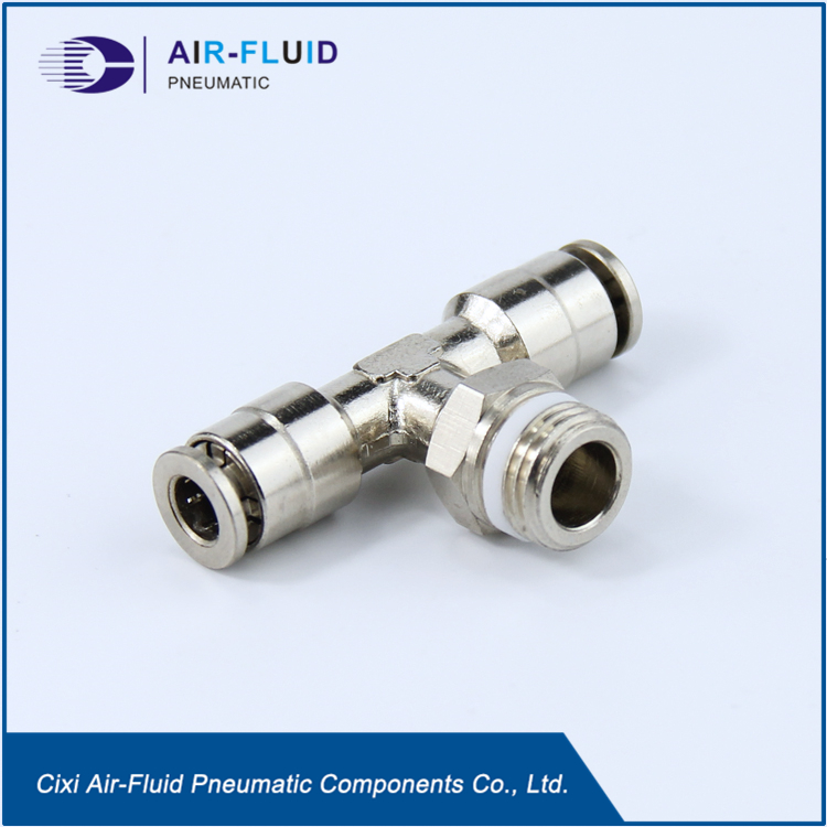 Air-Fluid Teflon Washer Brass Push in Run Tee Fittings .