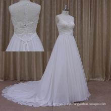 O novo grosso cristal frisado chiffon vestido de noiva