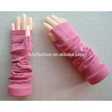 Garrafa feita de cashmere de malha perfurada de luvas sem dedos de cor pura