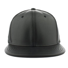 China supplier small order customize plain leather black custom hand made snapback cap flat brim