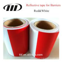 cinta reflexiva blanca y roja para la barrera y las barricadas, camiones, etiqueta engomada reflexiva amonestadora del patrón del coche