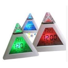 Despertador del triángulo, reloj del humor del cambio del color reloj de alarma de la pirámide