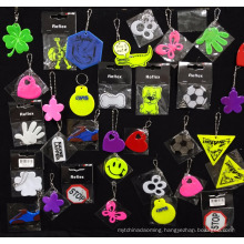 Custom printed promotional high light soft pvc reflective keychain
