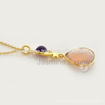 Handgemachtes Gold überzogene Edelstein-Halskette Großhandelsvermeil-Bezel-Edelstein-Halsketten-Lieferanten
