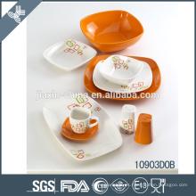 2015 nuevo diseño blanco y naranja juego de cena de cerámica
