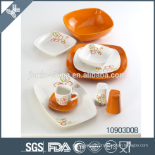 2015 new design white and orange ceramic dinner set