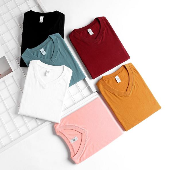 Womens VEE Neck Cotton T-shirt