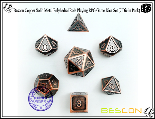 Bescon Copper Solid Metal Polyhedral Role Playing RPG Game Dice Set (7 Die in Pack)-2