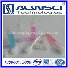 1 mL de frasco de vidro transparente com bujão de polietileno transparente