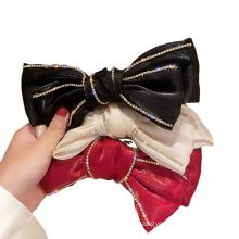 New Fabric Red Black Big Hair Barrettes Bow Knot Fashion Accessories Hairpin Korean Luxury Spring Clip