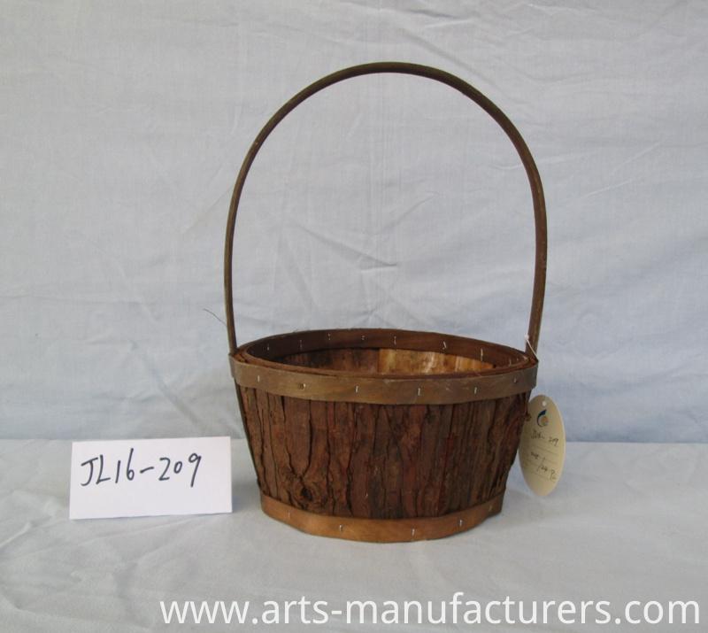 round wood chip basket