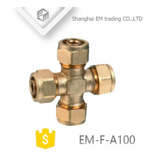 EM-F-A100 Messing-Außengewinde, gleichmäßiger Kreuzpressfitting