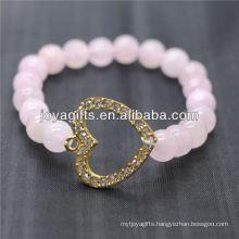 Wholesale Diamante Heart With 8MM Semi Precious Stone Stretch Bracelet