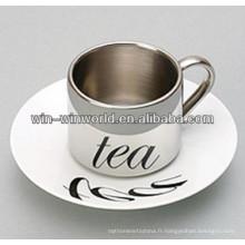Tasse de café en acier inoxydable à double paroi réfléchissante