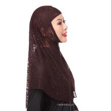 2017 elegância atacado mercado de casamento lace cor sólida instan hijabs cap e cachecol twinset