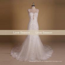 MRY061 vestido de noiva com renda encadernada em seda cruzada vestidos de noiva sem costura