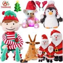 2017 Coutom De Noël Singing En Peluche Animal Renne Santa Claus Pingouin Jouet Led Blanc Ours En Peluche Arbre Doux Mini Elf En Peluche Jouet