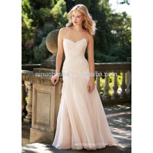 NA1010 Mermaid Sweetheart Sweep Train Appliqued Organza Wedding Dress 2015