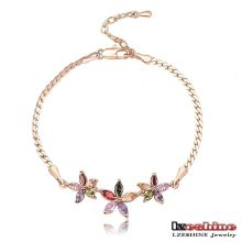 Gold Plated Multicolor Flower Women Bracelets (CBR0010-C)