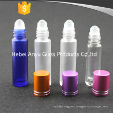 8ml 10ml Frosted Blue Glass Roll on Bottle for Essential Oil with Black Cap