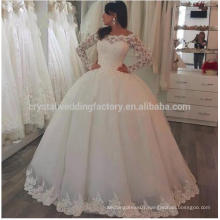 Gorgeous Sheer Robe De Mariage Puffy Backless 2017 Lace Applique Long Sleeves Wedding Gowns MW954