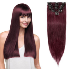 """Top Quality Clips Hair Cuticle Aligned 22"""" Brazilian Virgin Remy Hair Clip in Hair Extensions 100% Human Hair"""